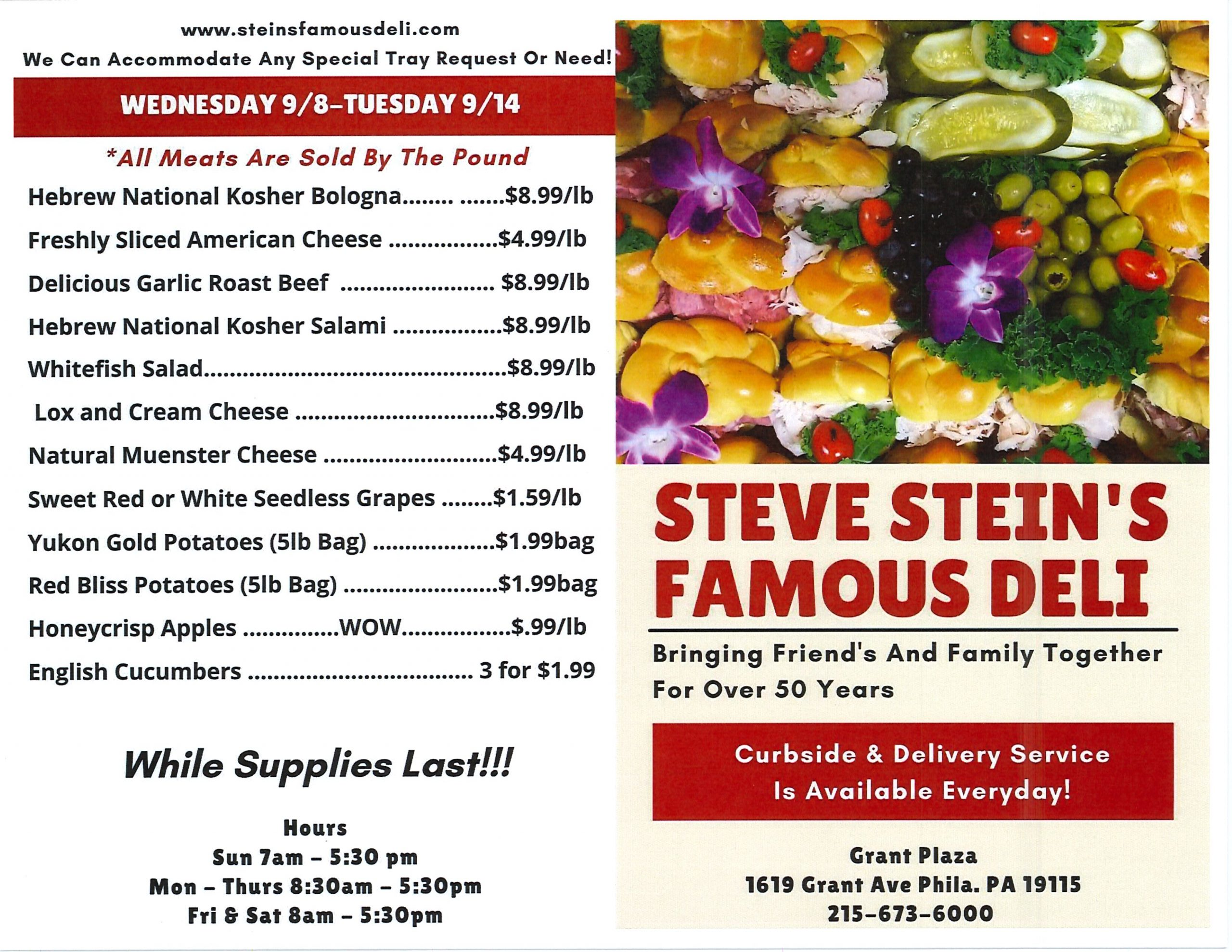 Weekly Specials 9-8 to 9-14